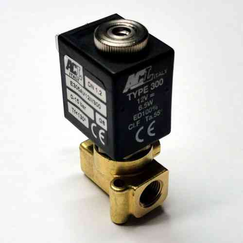"Solenoid valve 3 way direct acting poppet type 1/8"" 12 V"