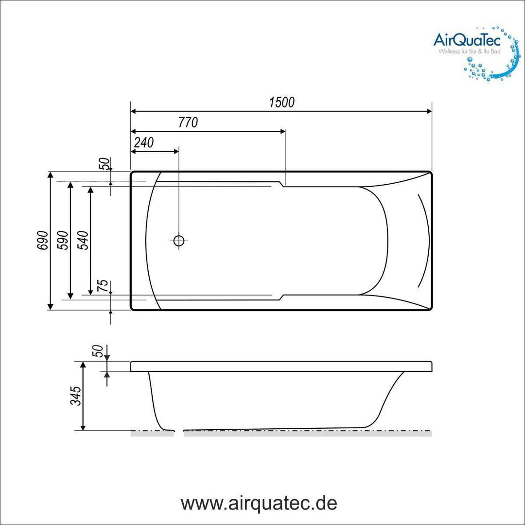 Low edge ridge profile bathtub 150 x 70 cm square, flat acryl tub