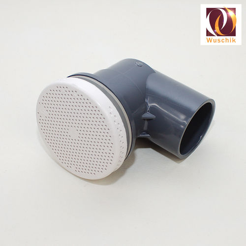 Suction 90mm flat white PVC 90°, elbow 50mm sieve jet