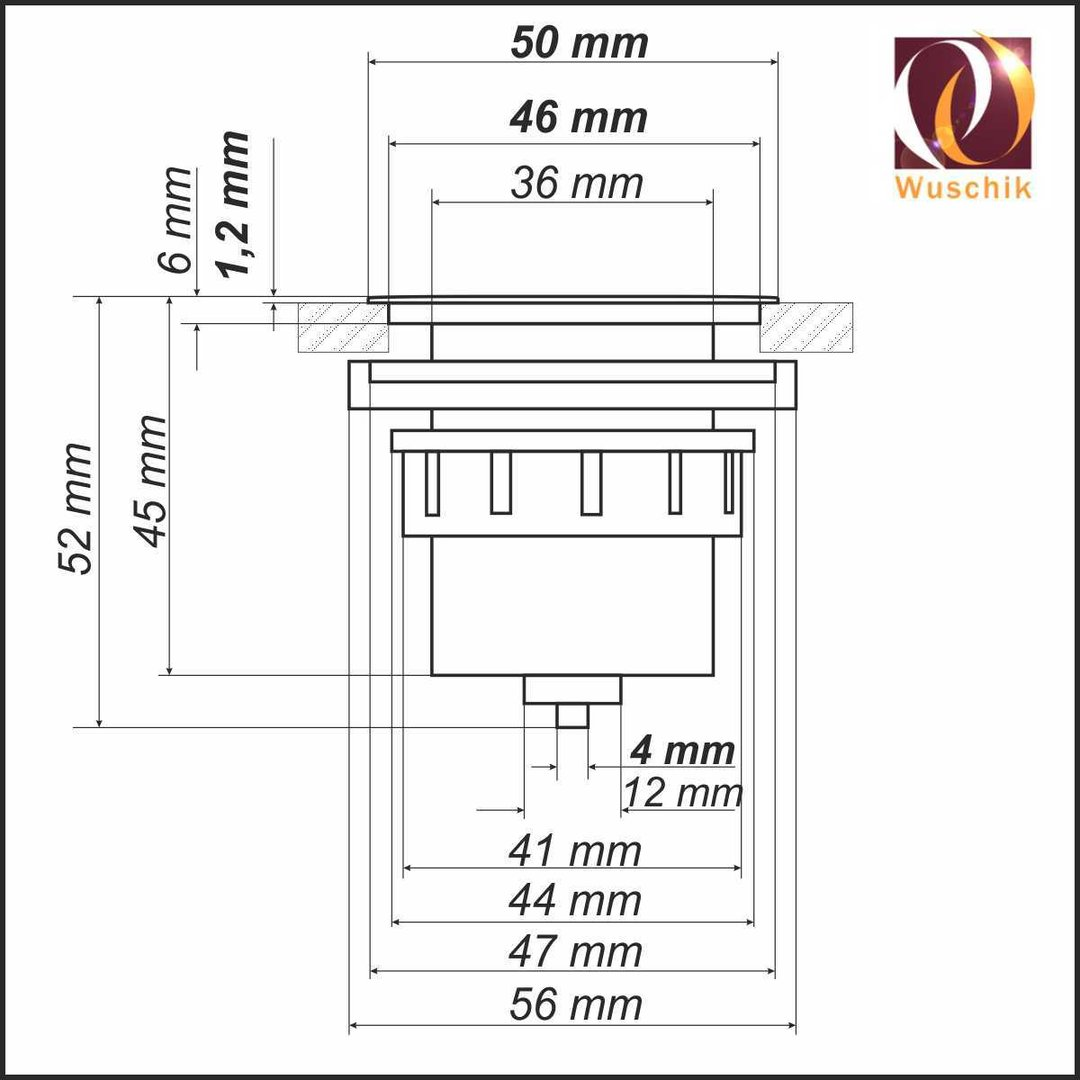 drucktaster flach pneumatik balgtaster chrom 50 mm messing chrom. Black Bedroom Furniture Sets. Home Design Ideas
