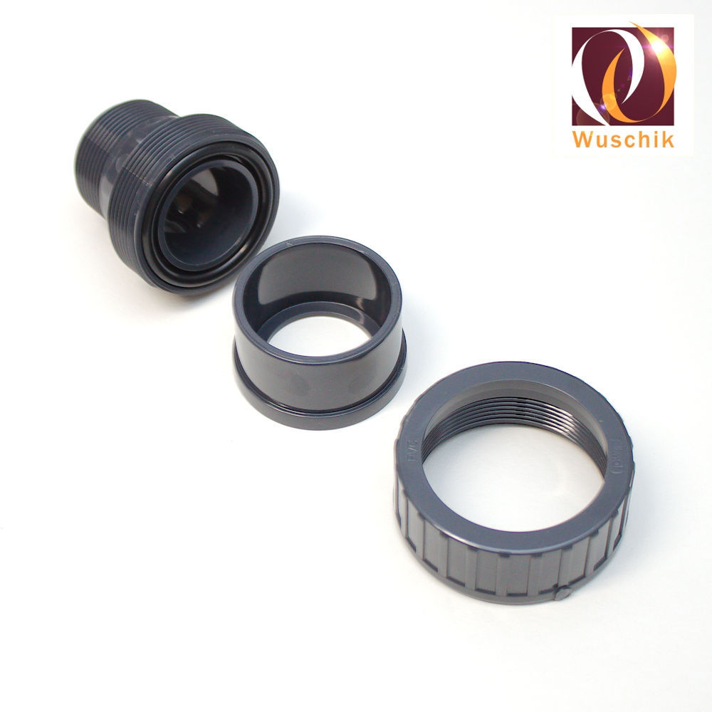 """PVC Fitting Adhesive Sleeve 50 mm x Thread 11//2/"""" with O Ring 10 Bar"""