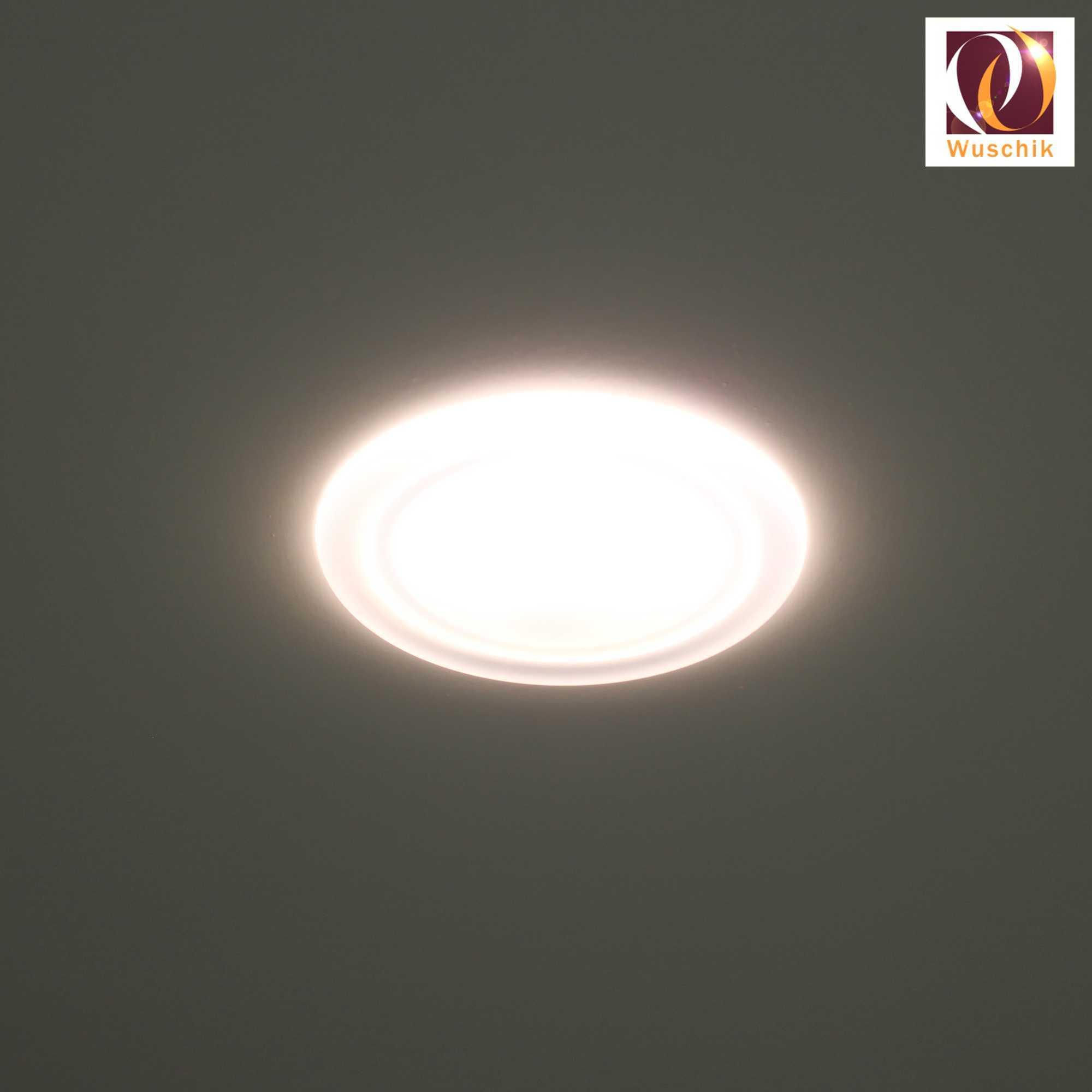 Duschlampe deckenlampe wasserfest 100mm wei licht led for Deckenlampe flach