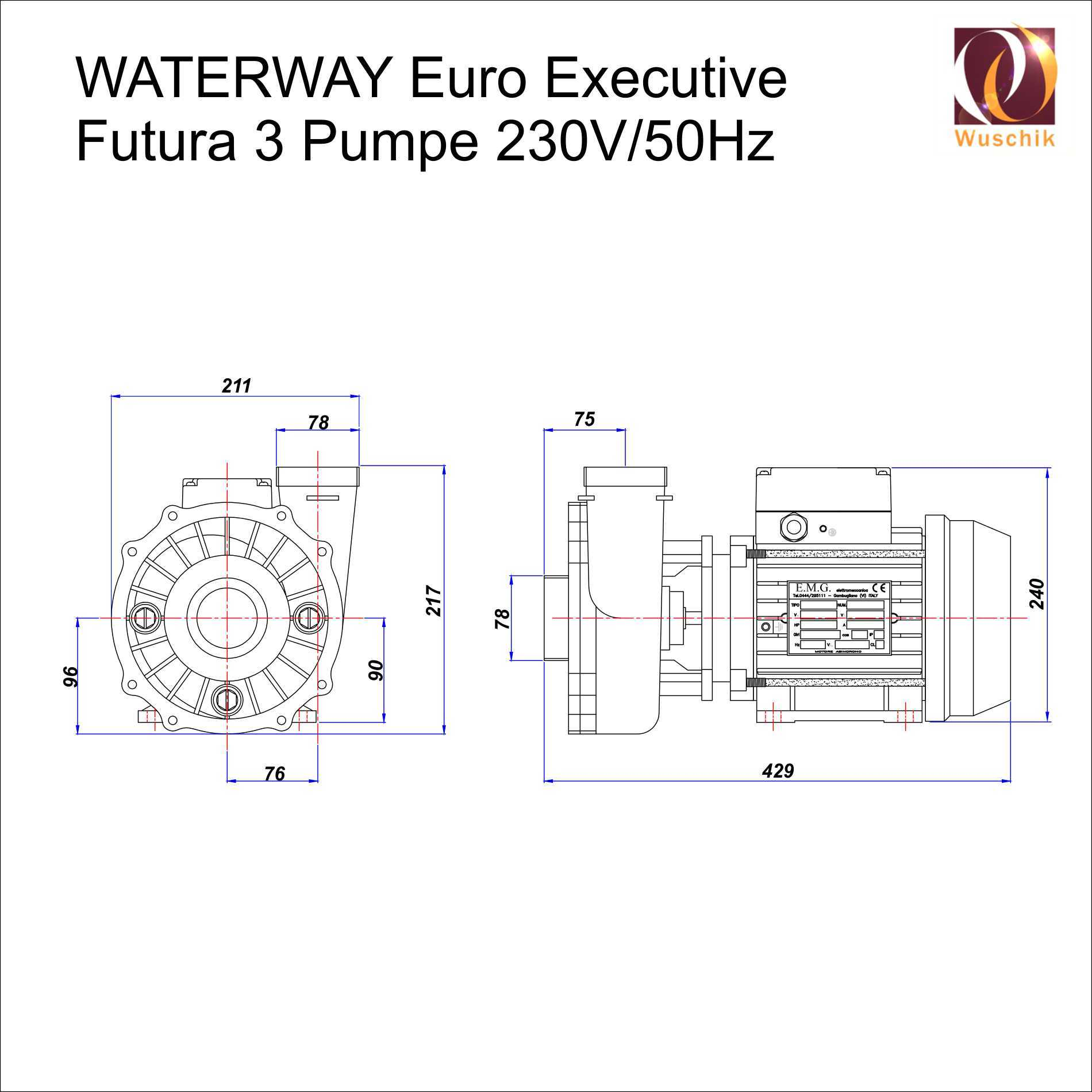Abmessungen-Executive-FUTURA-3-Waterway-Euro-Whirlpoolpumpe-3-Stufen-Speed-Jacuzzi-Hottub-Spa-Pump-Sizes