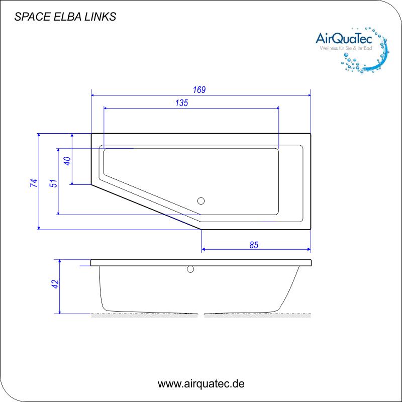 raumspar badewanne 170x75cm space elba acrylbadewanne links. Black Bedroom Furniture Sets. Home Design Ideas