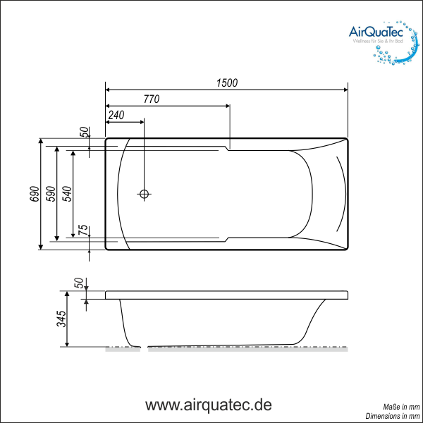 Low edge ridge profile bathtub 150 x 70 cm square flat for Normal bathtub size