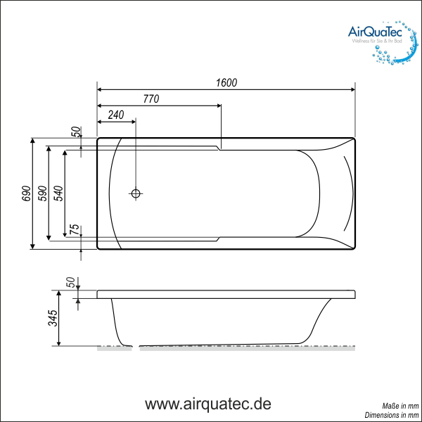 Low edge ridge profile bathtub 160 x 70 cm square easy for Bathroom tub dimensions
