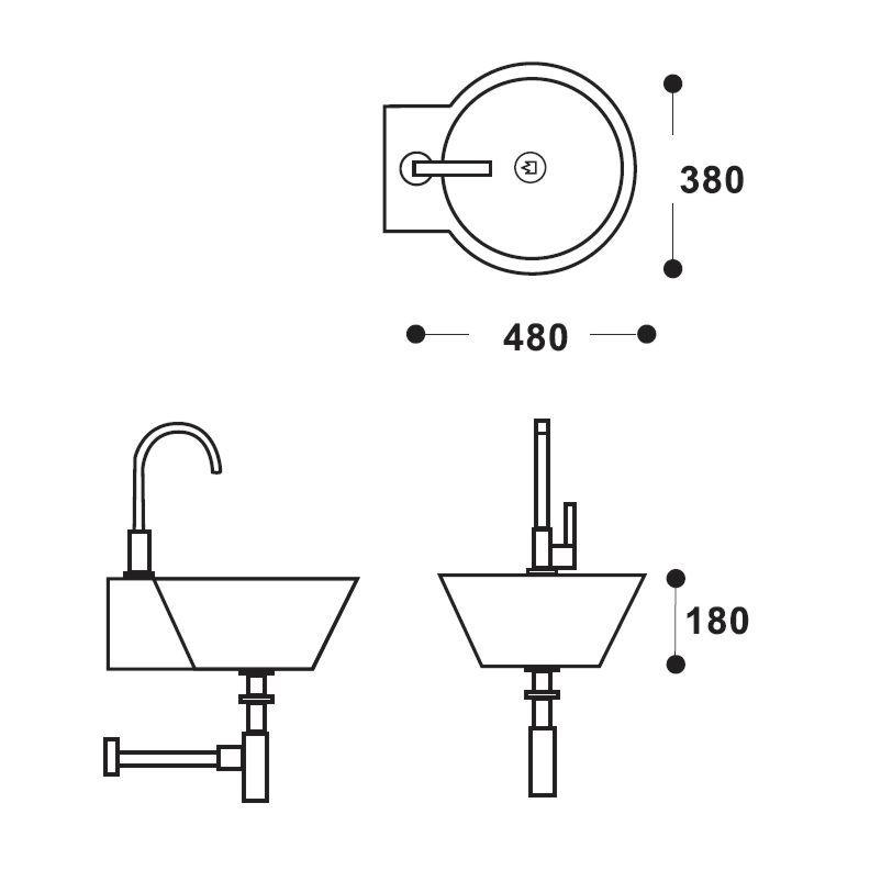 Waschbecken zeichnung  Design Waschbecken 38 x 48 cm WET weiss matt Gästebad ...
